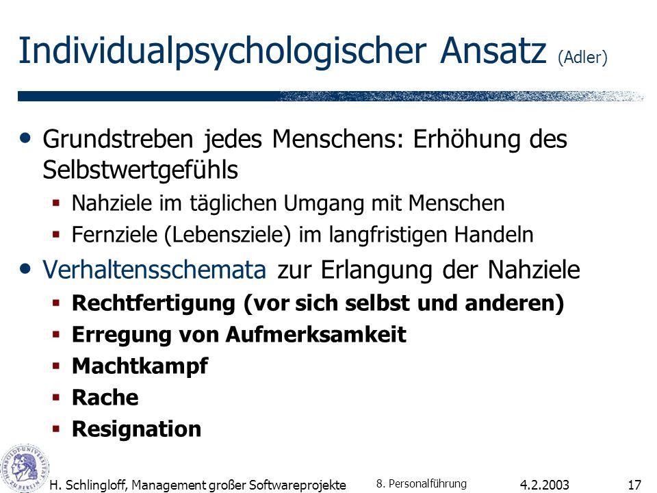 4.2.2003H. Schlingloff, Management großer Softwareprojekte17 Individualpsychologischer Ansatz (Adler) Grundstreben jedes Menschens: Erhöhung des Selbs