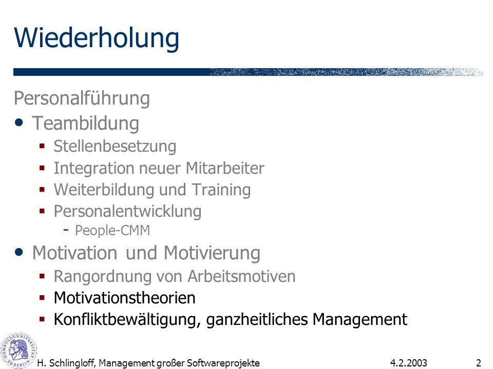 4.2.2003H. Schlingloff, Management großer Softwareprojekte2 Wiederholung Personalführung Teambildung Stellenbesetzung Integration neuer Mitarbeiter We