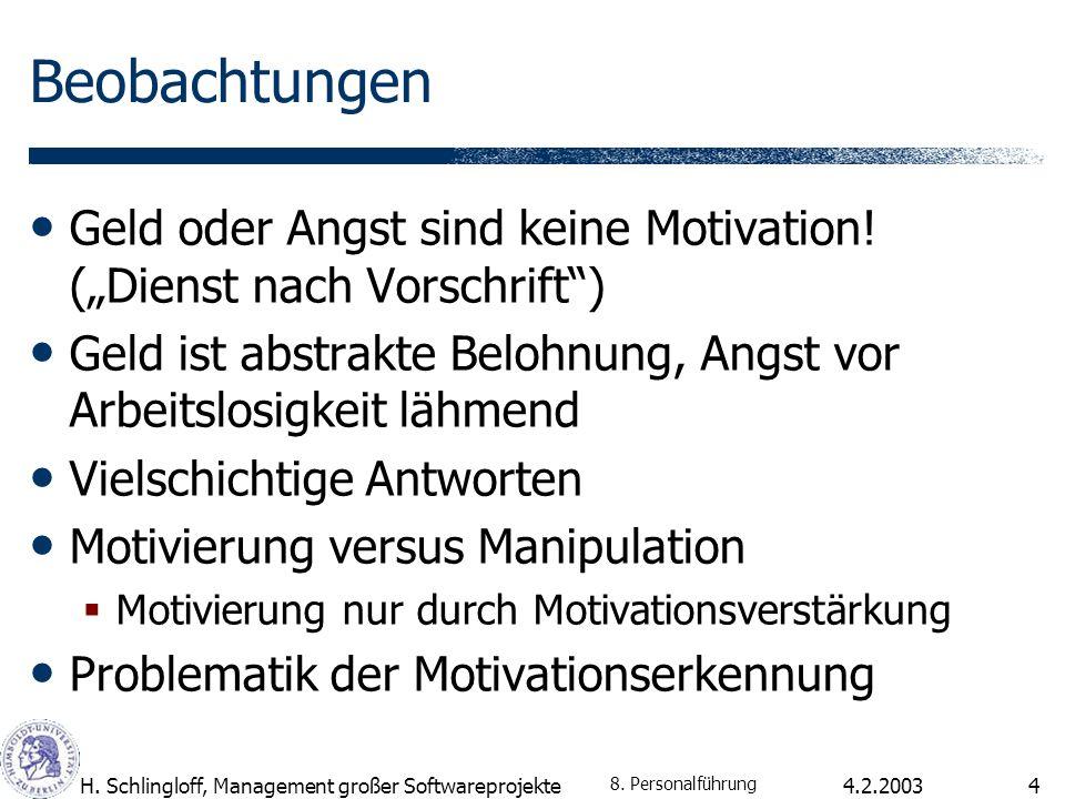 4.2.2003H. Schlingloff, Management großer Softwareprojekte4 Beobachtungen Geld oder Angst sind keine Motivation! (Dienst nach Vorschrift) Geld ist abs