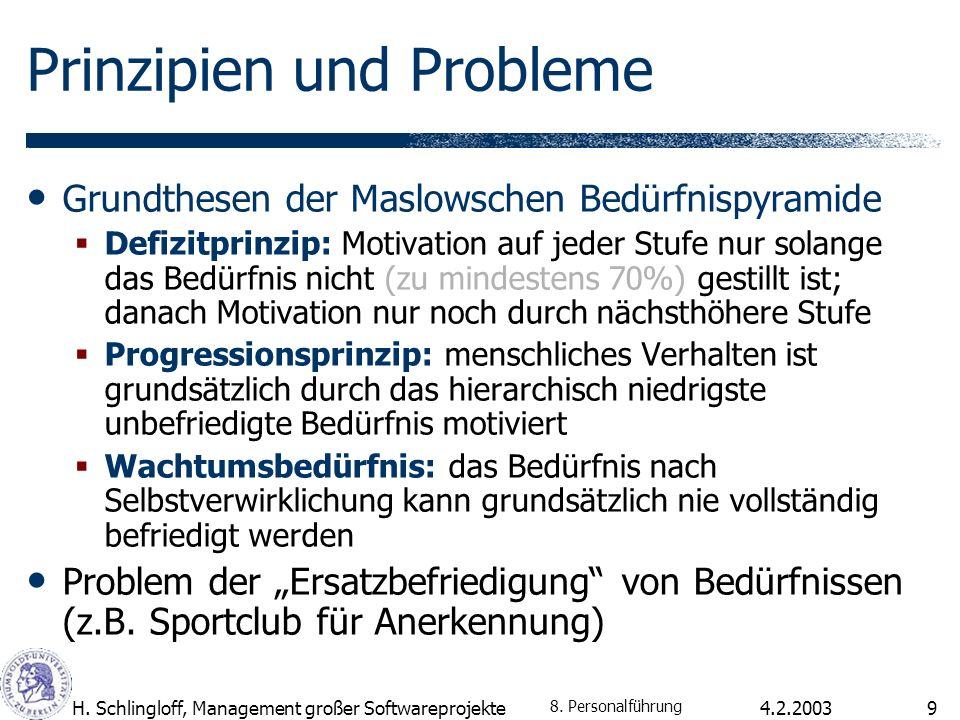 4.2.2003H. Schlingloff, Management großer Softwareprojekte9 Prinzipien und Probleme Grundthesen der Maslowschen Bedürfnispyramide Defizitprinzip: Moti