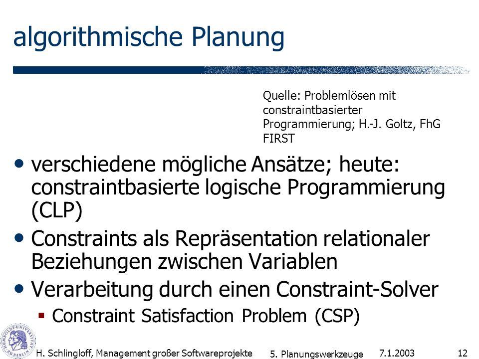 7.1.2003H. Schlingloff, Management großer Softwareprojekte12 algorithmische Planung verschiedene mögliche Ansätze; heute: constraintbasierte logische