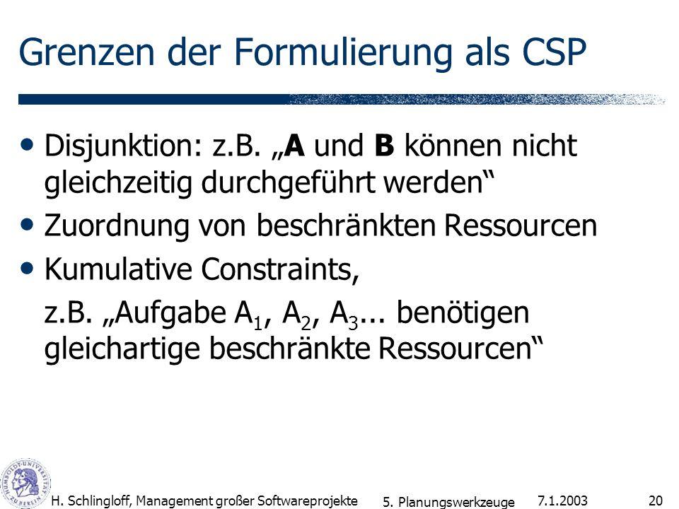 7.1.2003H. Schlingloff, Management großer Softwareprojekte20 Grenzen der Formulierung als CSP Disjunktion: z.B. A und B können nicht gleichzeitig durc
