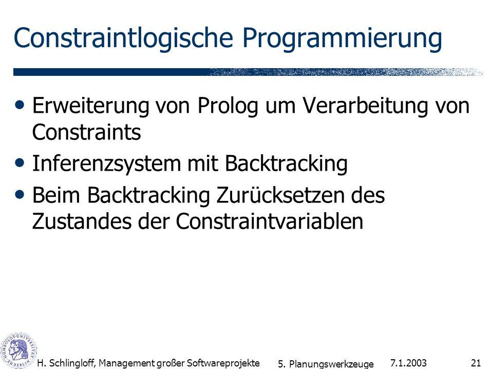 7.1.2003H. Schlingloff, Management großer Softwareprojekte21 Constraintlogische Programmierung Erweiterung von Prolog um Verarbeitung von Constraints