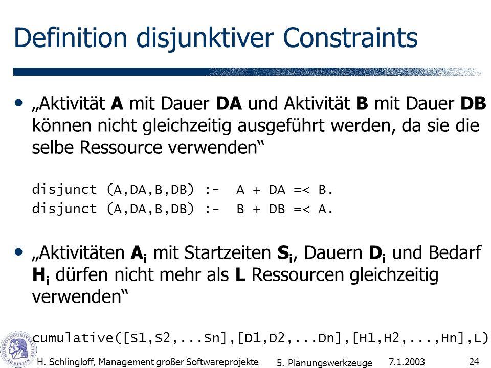 7.1.2003H. Schlingloff, Management großer Softwareprojekte24 Definition disjunktiver Constraints Aktivität A mit Dauer DA und Aktivität B mit Dauer DB