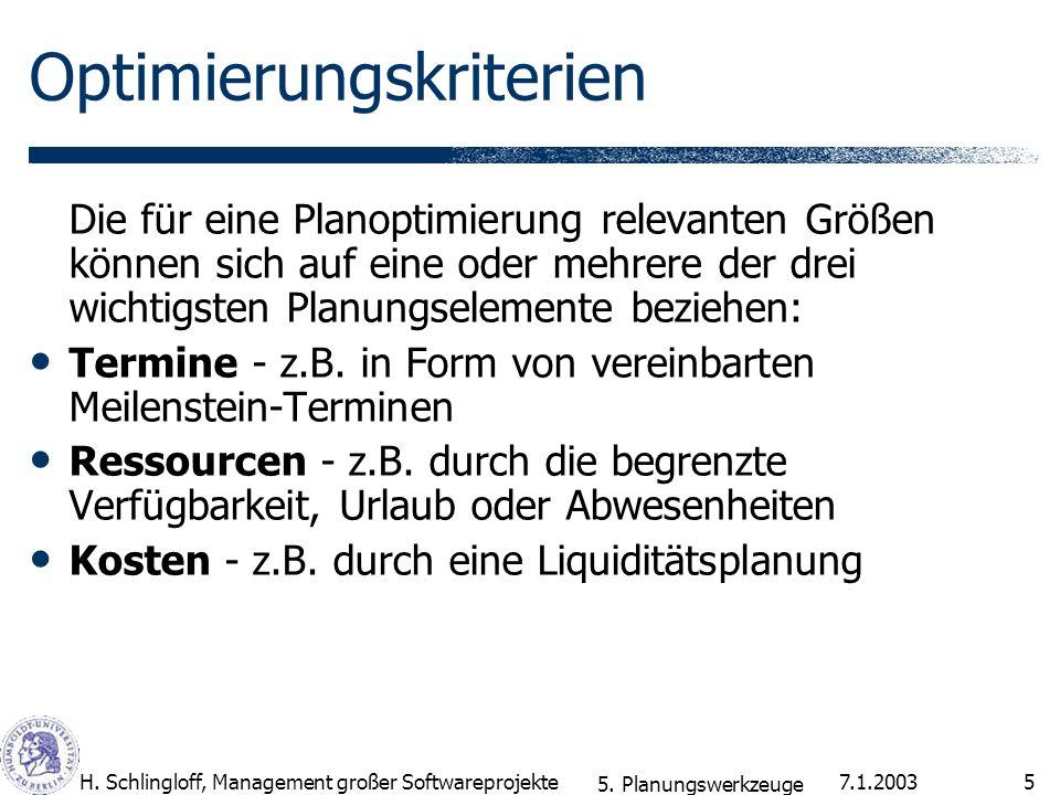 7.1.2003H. Schlingloff, Management großer Softwareprojekte5 Optimierungskriterien Die für eine Planoptimierung relevanten Größen können sich auf eine
