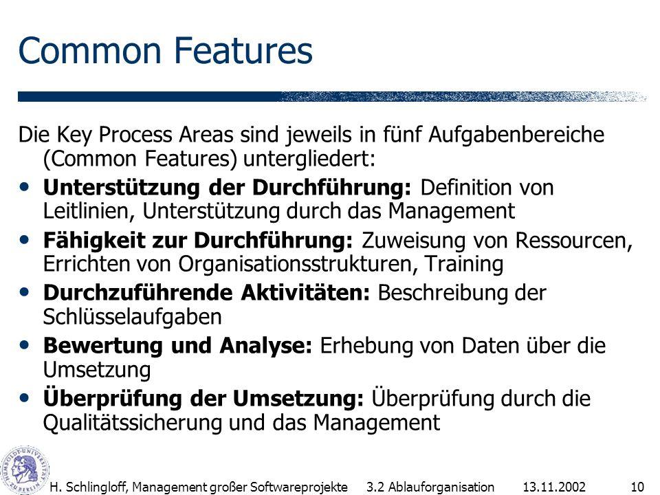 13.11.2002H. Schlingloff, Management großer Softwareprojekte10 Common Features Die Key Process Areas sind jeweils in fünf Aufgabenbereiche (Common Fea
