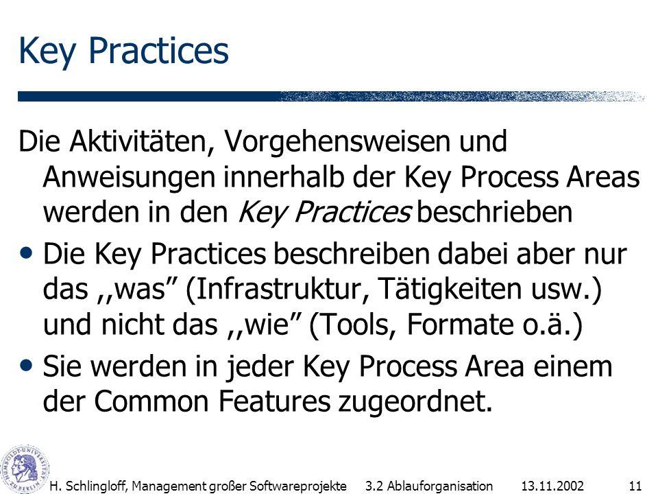13.11.2002H. Schlingloff, Management großer Softwareprojekte11 Key Practices Die Aktivitäten, Vorgehensweisen und Anweisungen innerhalb der Key Proces