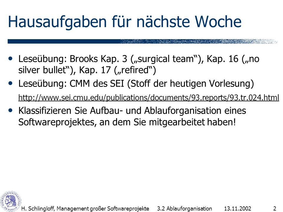 13.11.2002H. Schlingloff, Management großer Softwareprojekte2 Hausaufgaben für nächste Woche Leseübung: Brooks Kap. 3 (surgical team), Kap. 16 (no sil