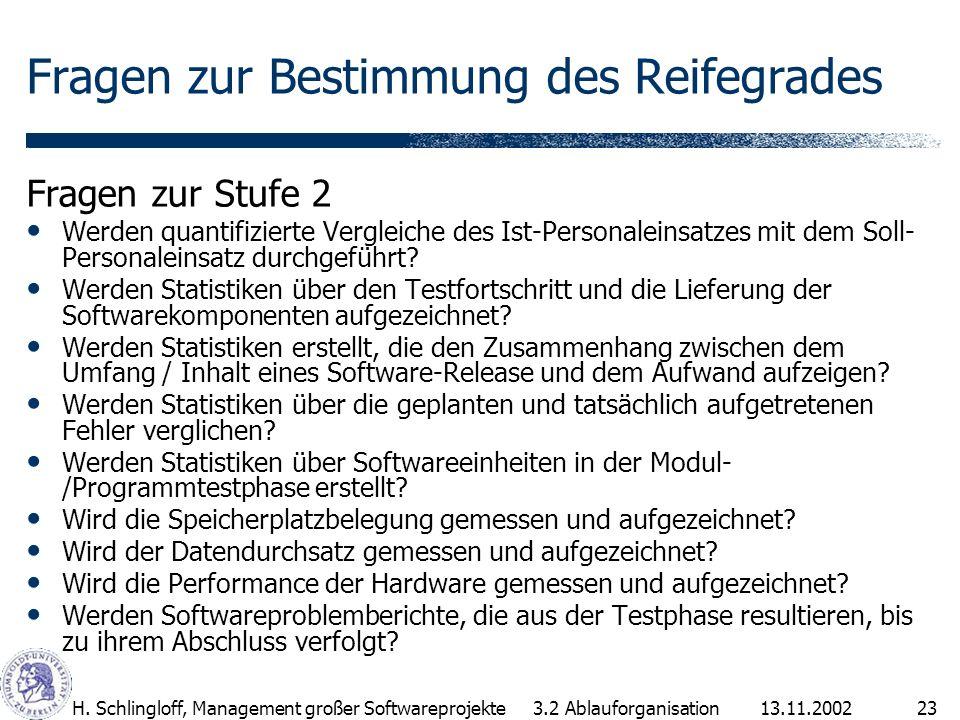 13.11.2002H. Schlingloff, Management großer Softwareprojekte23 Fragen zur Bestimmung des Reifegrades Fragen zur Stufe 2 Werden quantifizierte Vergleic