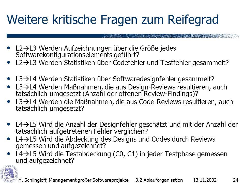 13.11.2002H. Schlingloff, Management großer Softwareprojekte24 Weitere kritische Fragen zum Reifegrad L2 L3 Werden Aufzeichnungen über die Größe jedes