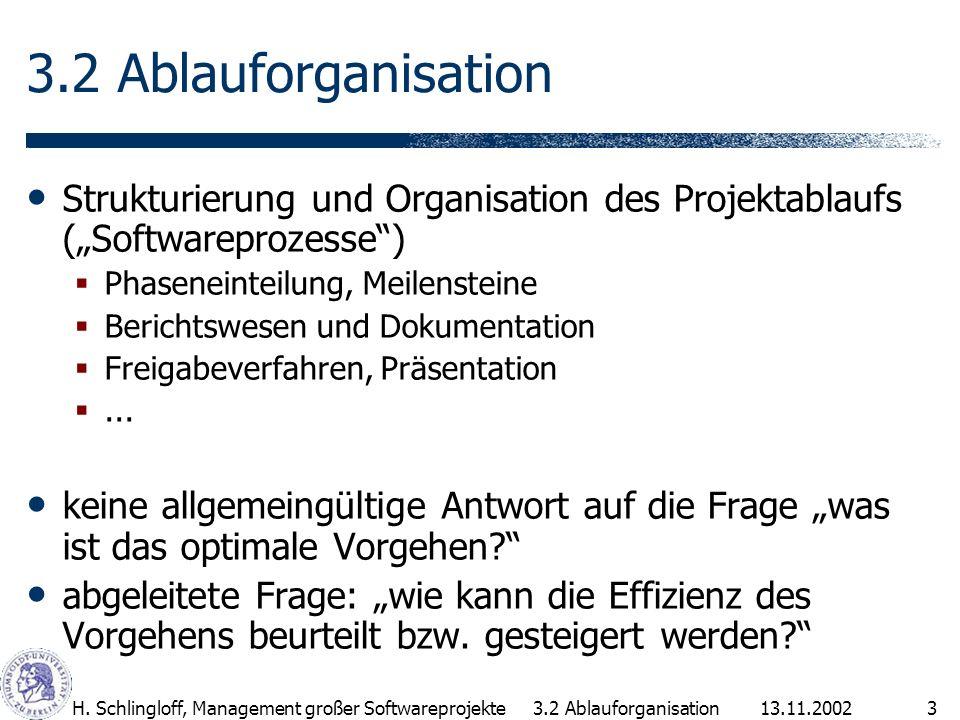 13.11.2002H. Schlingloff, Management großer Softwareprojekte3 3.2 Ablauforganisation Strukturierung und Organisation des Projektablaufs (Softwareproze