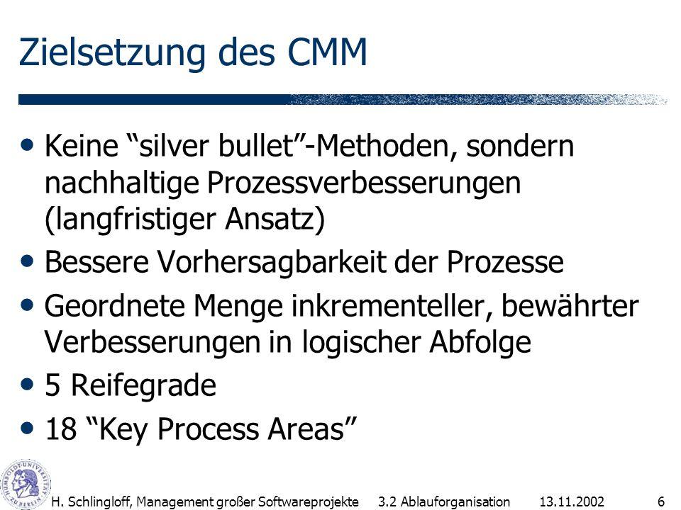 13.11.2002H. Schlingloff, Management großer Softwareprojekte6 Zielsetzung des CMM Keine silver bullet-Methoden, sondern nachhaltige Prozessverbesserun