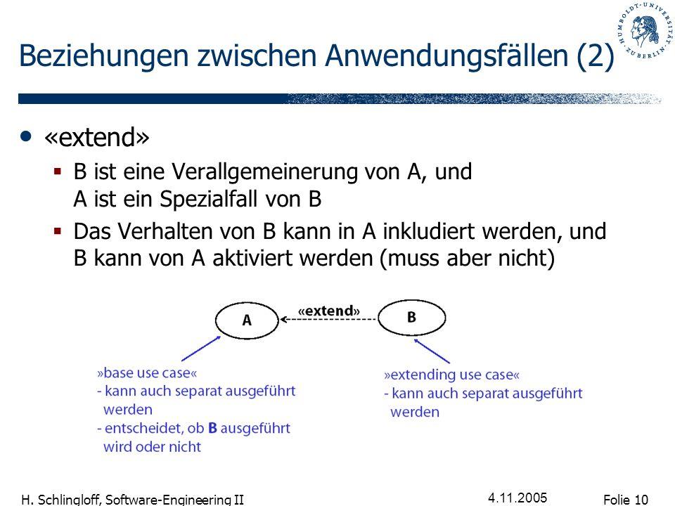 Folie 10 H. Schlingloff, Software-Engineering II 4.11.2005 Beziehungen zwischen Anwendungsfällen (2) «extend» B ist eine Verallgemeinerung von A, und