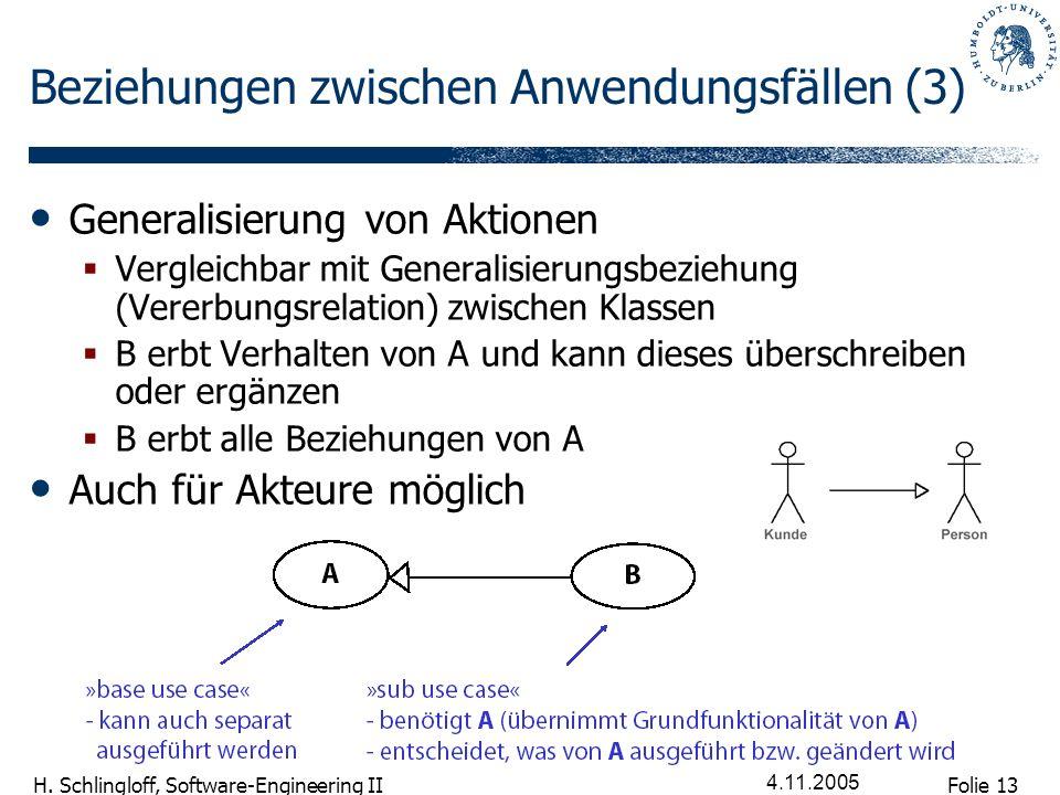 Folie 13 H. Schlingloff, Software-Engineering II 4.11.2005 Beziehungen zwischen Anwendungsfällen (3) Generalisierung von Aktionen Vergleichbar mit Gen