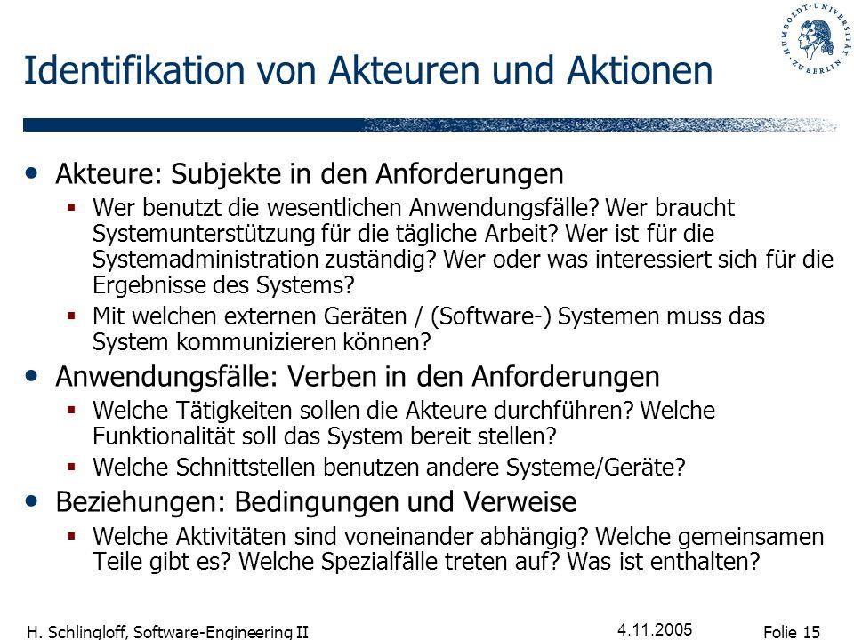 Folie 15 H. Schlingloff, Software-Engineering II 4.11.2005 Identifikation von Akteuren und Aktionen Akteure: Subjekte in den Anforderungen Wer benutzt