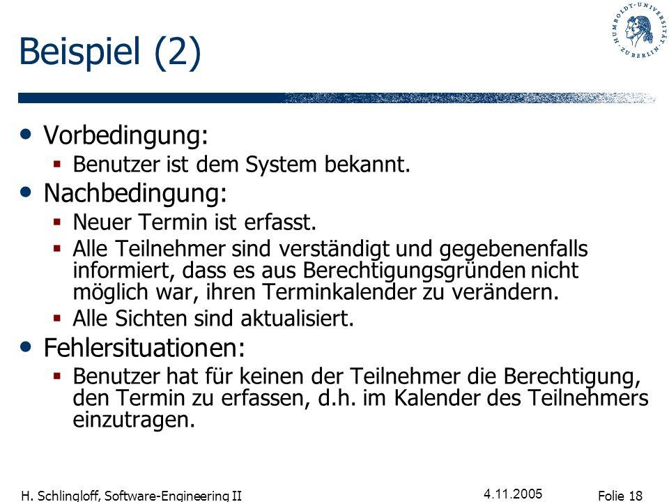 Folie 18 H. Schlingloff, Software-Engineering II 4.11.2005 Beispiel (2) Vorbedingung: Benutzer ist dem System bekannt. Nachbedingung: Neuer Termin ist
