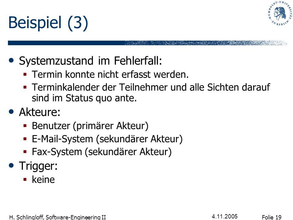 Folie 19 H. Schlingloff, Software-Engineering II 4.11.2005 Beispiel (3) Systemzustand im Fehlerfall: Termin konnte nicht erfasst werden. Terminkalende