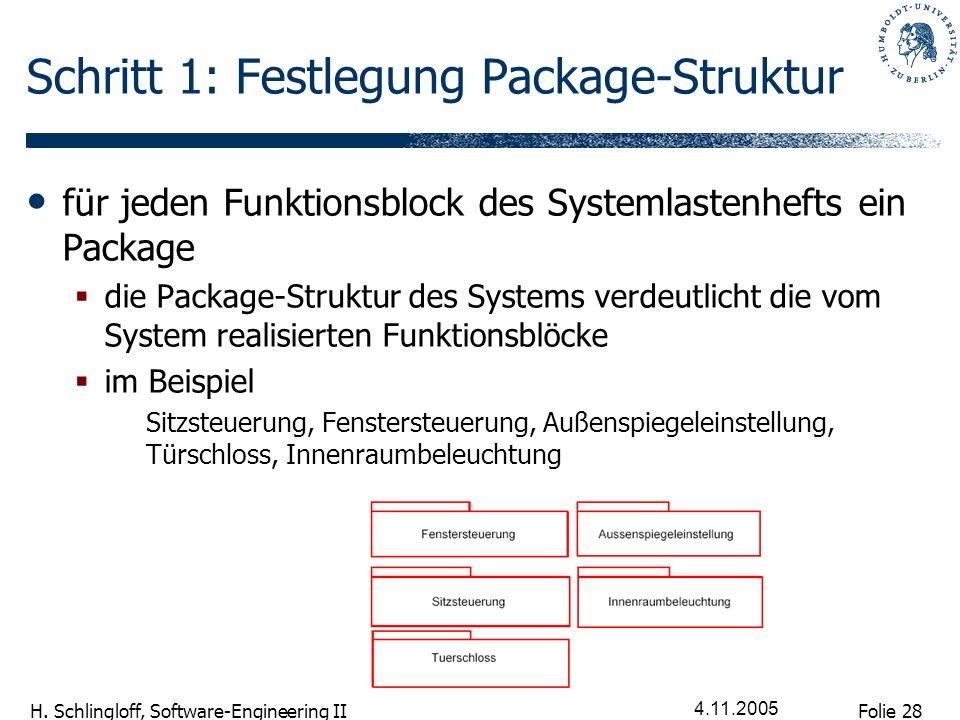 Folie 28 H. Schlingloff, Software-Engineering II 4.11.2005 Schritt 1: Festlegung Package-Struktur für jeden Funktionsblock des Systemlastenhefts ein P