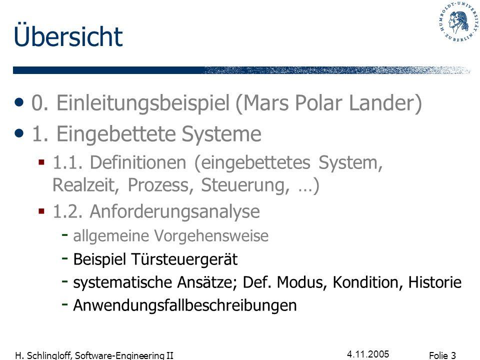 Folie 3 H. Schlingloff, Software-Engineering II 4.11.2005 Übersicht 0. Einleitungsbeispiel (Mars Polar Lander) 1. Eingebettete Systeme 1.1. Definition