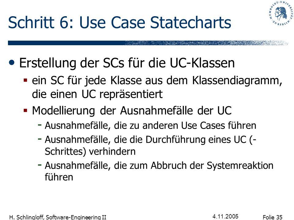Folie 35 H. Schlingloff, Software-Engineering II 4.11.2005 Schritt 6: Use Case Statecharts Erstellung der SCs für die UC-Klassen ein SC für jede Klass