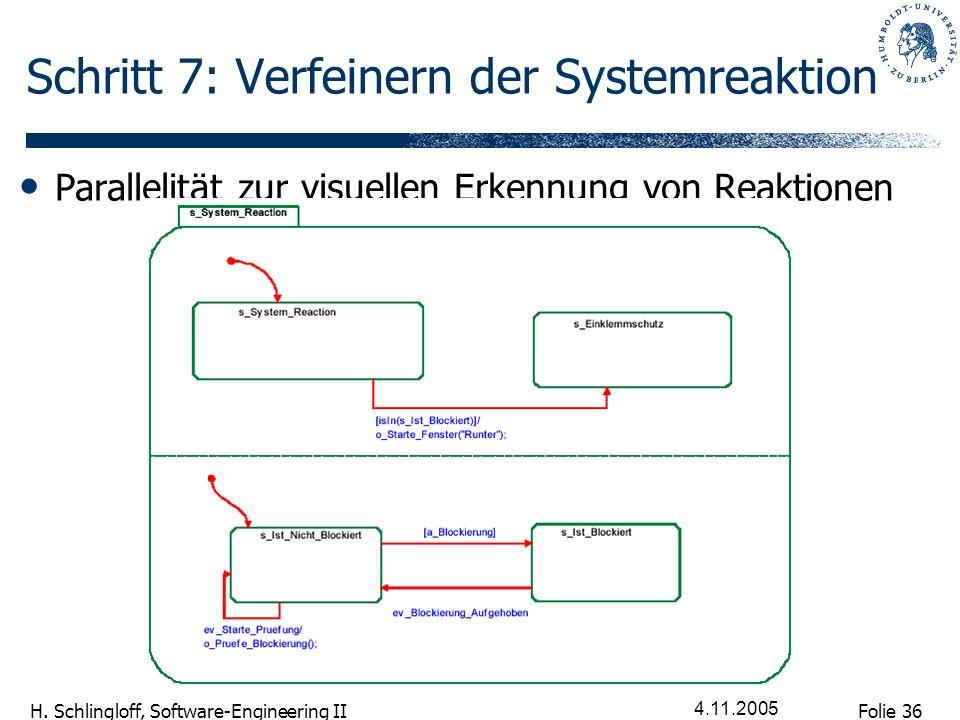 Folie 36 H. Schlingloff, Software-Engineering II 4.11.2005 Schritt 7: Verfeinern der Systemreaktion Parallelität zur visuellen Erkennung von Reaktione