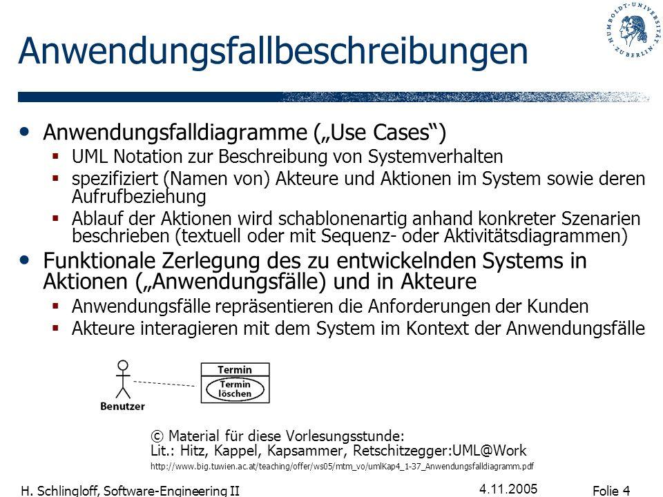 Folie 4 H. Schlingloff, Software-Engineering II 4.11.2005 Anwendungsfallbeschreibungen Anwendungsfalldiagramme (Use Cases) UML Notation zur Beschreibu
