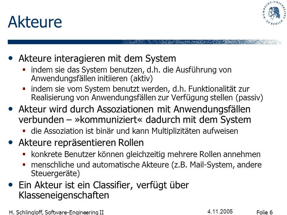 Folie 6 H. Schlingloff, Software-Engineering II 4.11.2005 Akteure Akteure interagieren mit dem System indem sie das System benutzen, d.h. die Ausführu