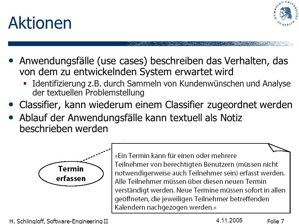 Folie 7 H. Schlingloff, Software-Engineering II 4.11.2005 Aktionen Anwendungsfälle (use cases) beschreiben das Verhalten, das von dem zu entwickelnden