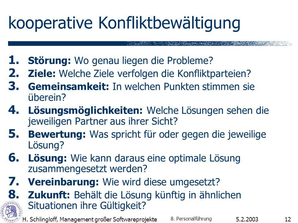 5.2.2003H. Schlingloff, Management großer Softwareprojekte12 kooperative Konfliktbewältigung 1. Störung: Wo genau liegen die Probleme? 2. Ziele: Welch