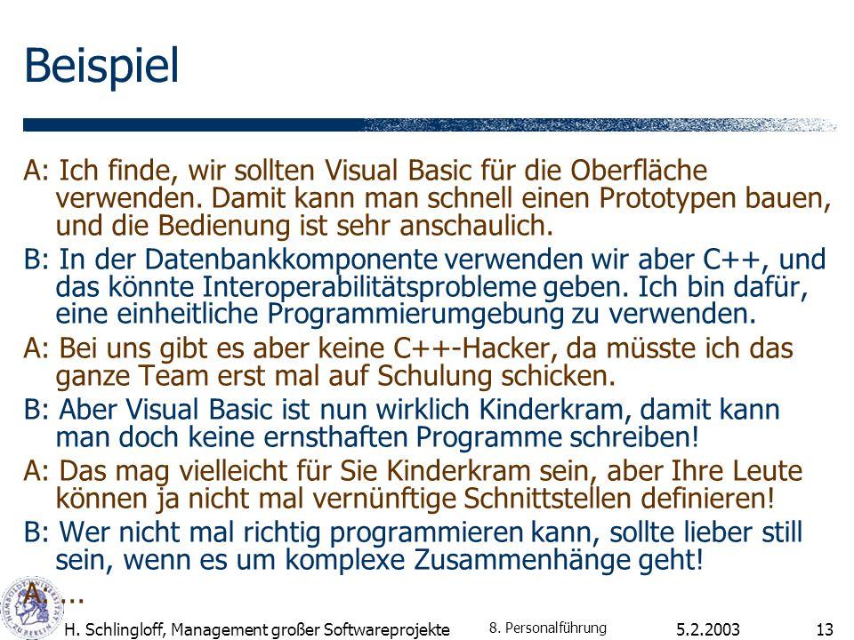 5.2.2003H. Schlingloff, Management großer Softwareprojekte13 Beispiel A: Ich finde, wir sollten Visual Basic für die Oberfläche verwenden. Damit kann