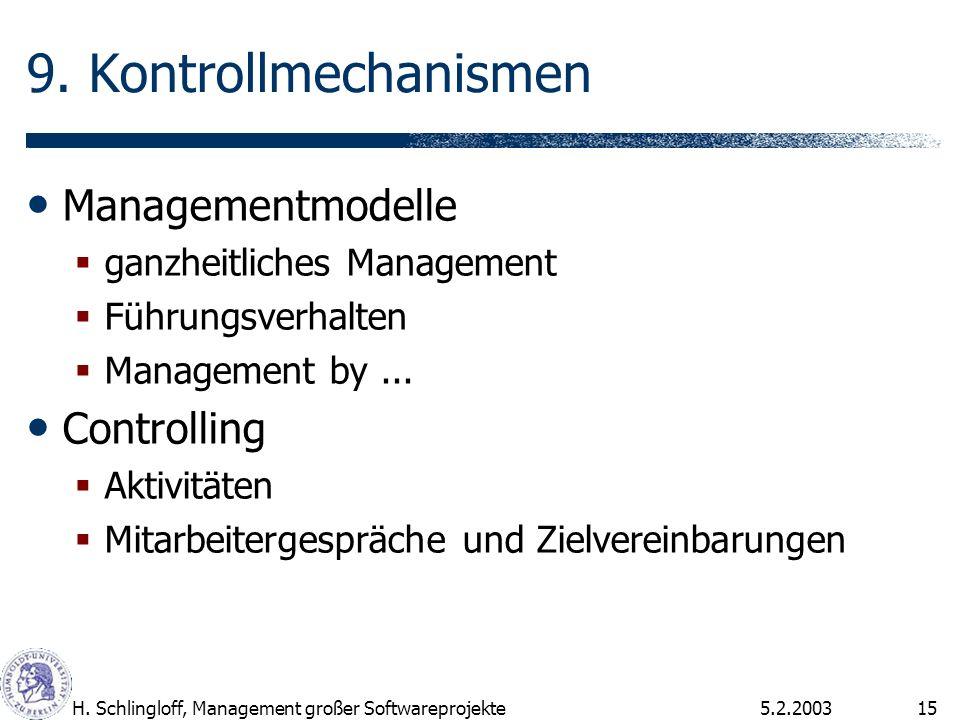 5.2.2003H. Schlingloff, Management großer Softwareprojekte15 9. Kontrollmechanismen Managementmodelle ganzheitliches Management Führungsverhalten Mana