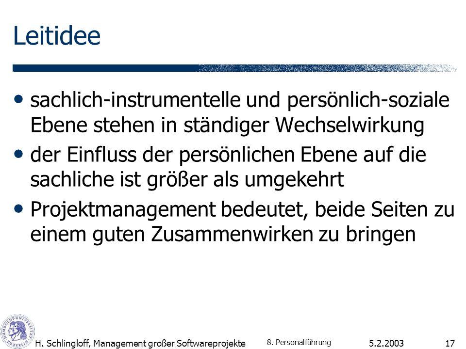 5.2.2003H. Schlingloff, Management großer Softwareprojekte17 Leitidee sachlich-instrumentelle und persönlich-soziale Ebene stehen in ständiger Wechsel