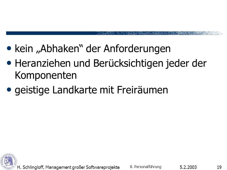 5.2.2003H. Schlingloff, Management großer Softwareprojekte19 kein Abhaken der Anforderungen Heranziehen und Berücksichtigen jeder der Komponenten geis