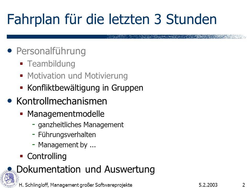 5.2.2003H. Schlingloff, Management großer Softwareprojekte2 Fahrplan für die letzten 3 Stunden Personalführung Teambildung Motivation und Motivierung
