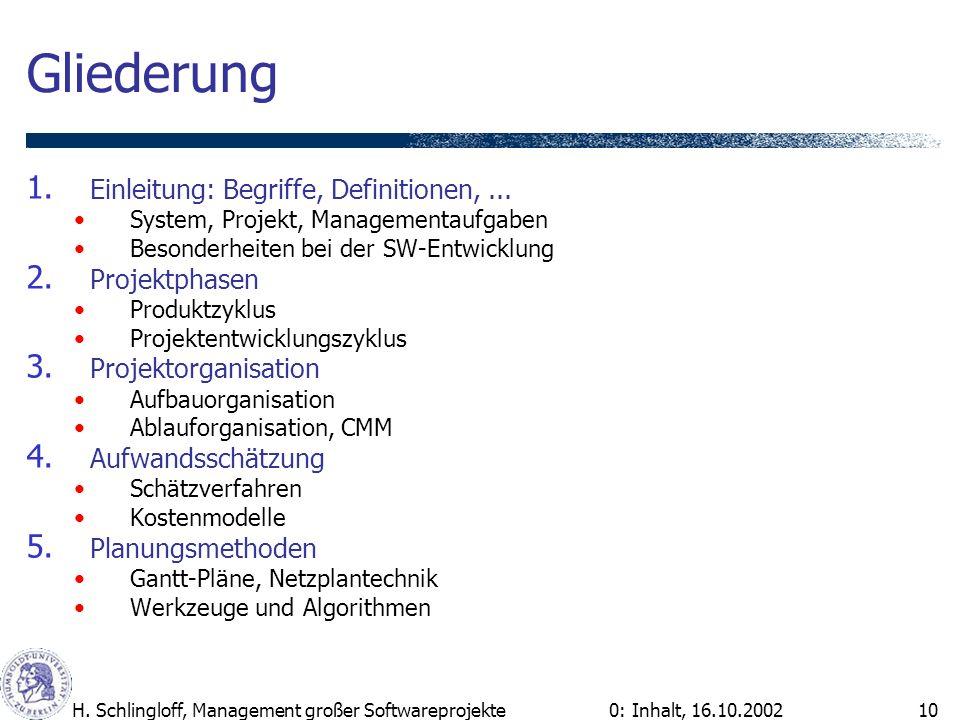 0: Inhalt, 16.10.2002H. Schlingloff, Management großer Softwareprojekte10 Gliederung 1. Einleitung: Begriffe, Definitionen,... System, Projekt, Manage
