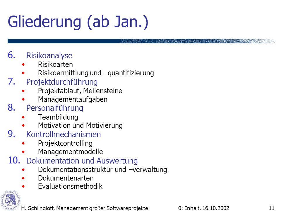 0: Inhalt, 16.10.2002H. Schlingloff, Management großer Softwareprojekte11 Gliederung (ab Jan.) 6. Risikoanalyse Risikoarten Risikoermittlung und –quan