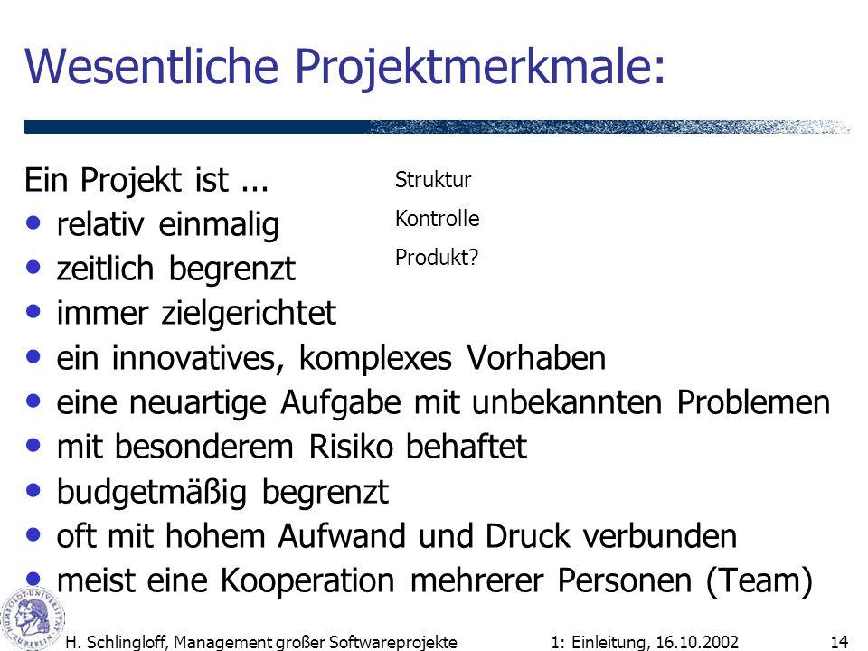 1: Einleitung, 16.10.2002H. Schlingloff, Management großer Softwareprojekte14 Wesentliche Projektmerkmale: Ein Projekt ist... relativ einmalig zeitlic