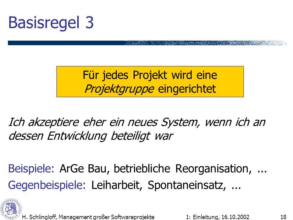 1: Einleitung, 16.10.2002H. Schlingloff, Management großer Softwareprojekte18 Basisregel 3 Ich akzeptiere eher ein neues System, wenn ich an dessen En
