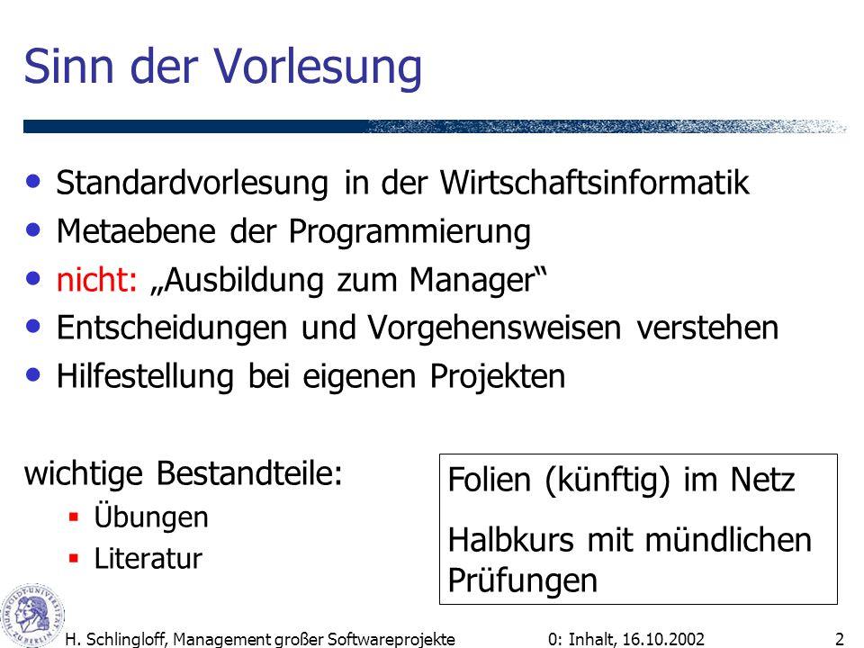 0: Inhalt, 16.10.2002H. Schlingloff, Management großer Softwareprojekte2 Sinn der Vorlesung Standardvorlesung in der Wirtschaftsinformatik Metaebene d