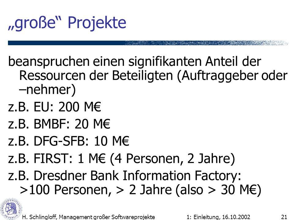 1: Einleitung, 16.10.2002H. Schlingloff, Management großer Softwareprojekte21 große Projekte beanspruchen einen signifikanten Anteil der Ressourcen de