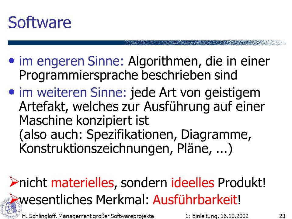 1: Einleitung, 16.10.2002H. Schlingloff, Management großer Softwareprojekte23 Software im engeren Sinne: Algorithmen, die in einer Programmiersprache