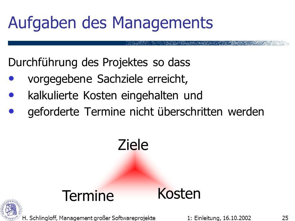 1: Einleitung, 16.10.2002H. Schlingloff, Management großer Softwareprojekte25 Aufgaben des Managements Durchführung des Projektes so dass vorgegebene