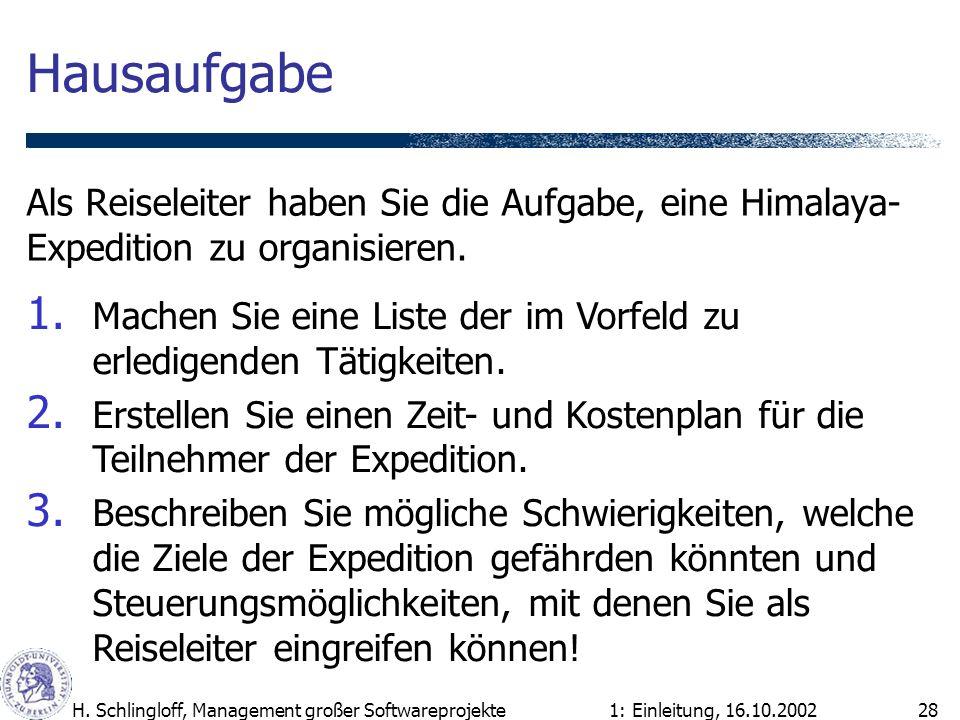 1: Einleitung, 16.10.2002H. Schlingloff, Management großer Softwareprojekte28 Hausaufgabe Als Reiseleiter haben Sie die Aufgabe, eine Himalaya- Expedi