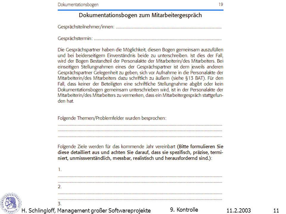 11.2.2003H. Schlingloff, Management großer Softwareprojekte11 9. Kontrolle