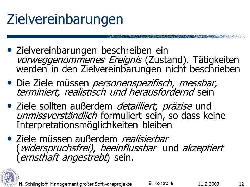 11.2.2003H. Schlingloff, Management großer Softwareprojekte12 Zielvereinbarungen Zielvereinbarungen beschreiben ein vorweggenommenes Ereignis (Zustand