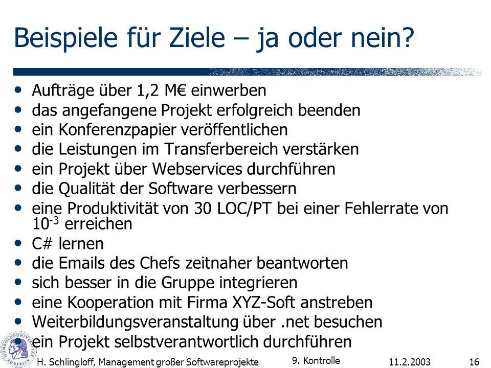 11.2.2003H. Schlingloff, Management großer Softwareprojekte16 Beispiele für Ziele – ja oder nein? Aufträge über 1,2 M einwerben das angefangene Projek