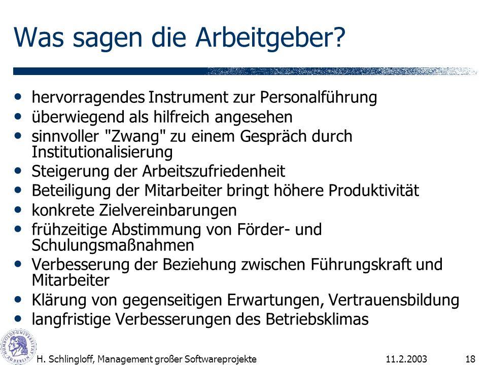 11.2.2003H. Schlingloff, Management großer Softwareprojekte18 Was sagen die Arbeitgeber? hervorragendes Instrument zur Personalführung überwiegend als