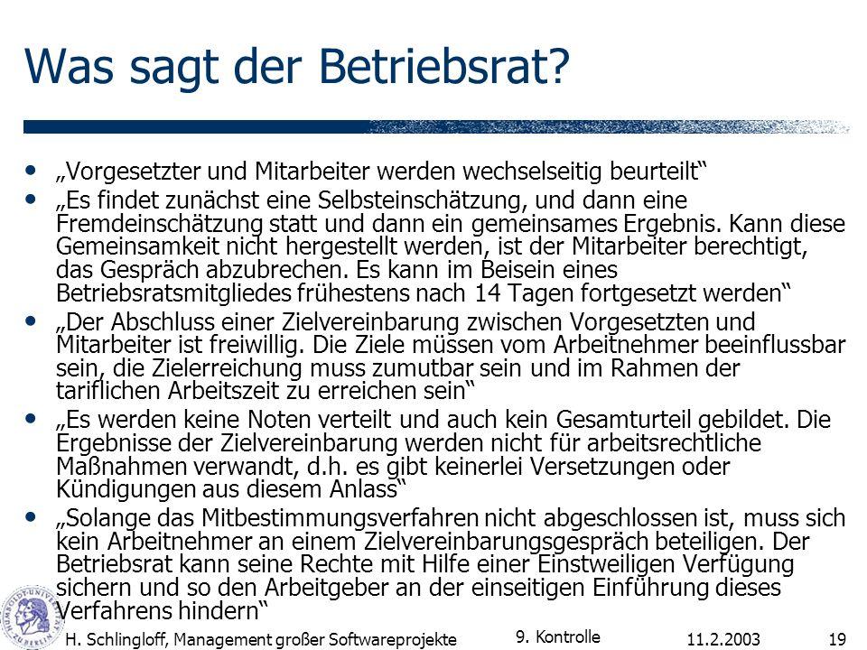 11.2.2003H. Schlingloff, Management großer Softwareprojekte19 Was sagt der Betriebsrat? Vorgesetzter und Mitarbeiter werden wechselseitig beurteilt Es