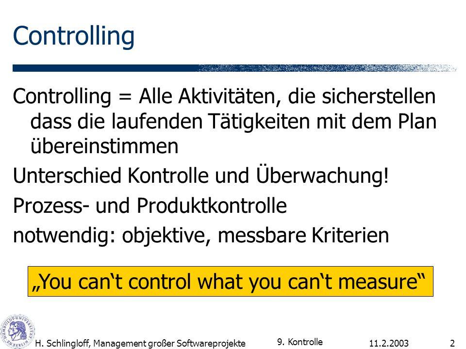 11.2.2003H. Schlingloff, Management großer Softwareprojekte2 Controlling Controlling = Alle Aktivitäten, die sicherstellen dass die laufenden Tätigkei