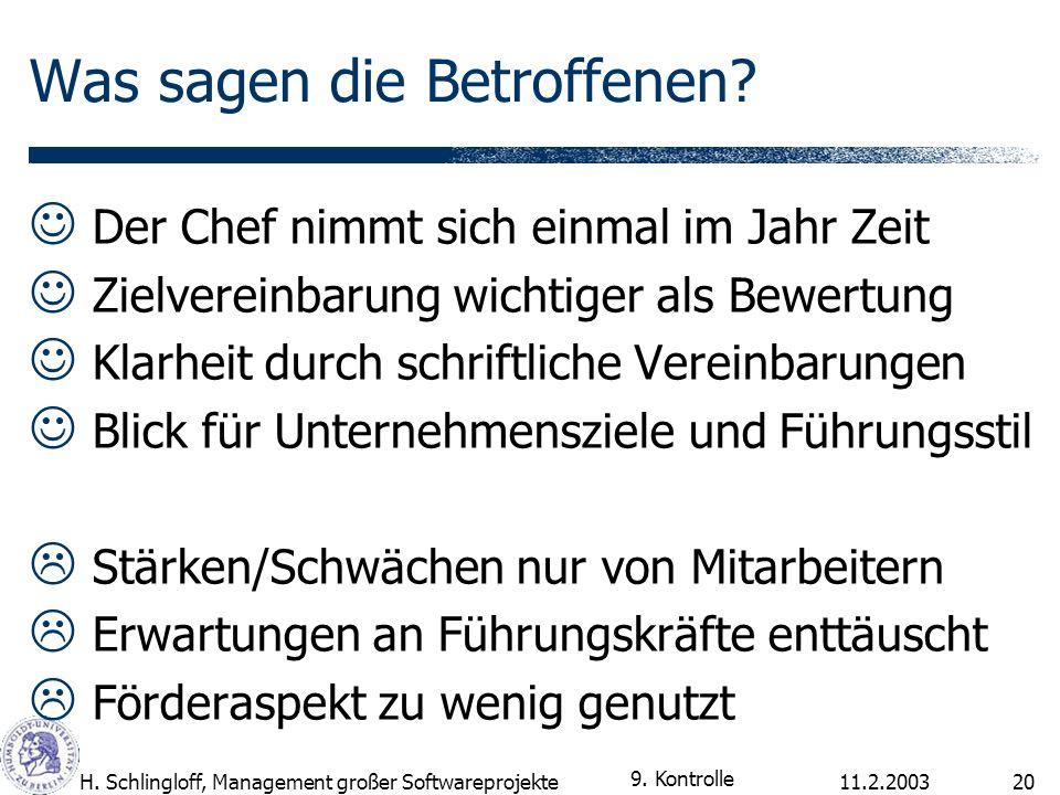 11.2.2003H. Schlingloff, Management großer Softwareprojekte20 Was sagen die Betroffenen? Der Chef nimmt sich einmal im Jahr Zeit Zielvereinbarung wich
